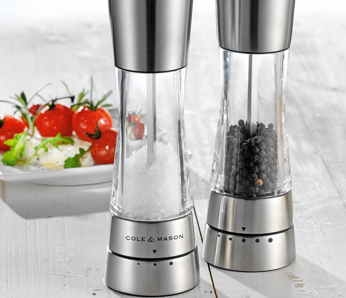 Cole and Mason salt & pepper grinders.