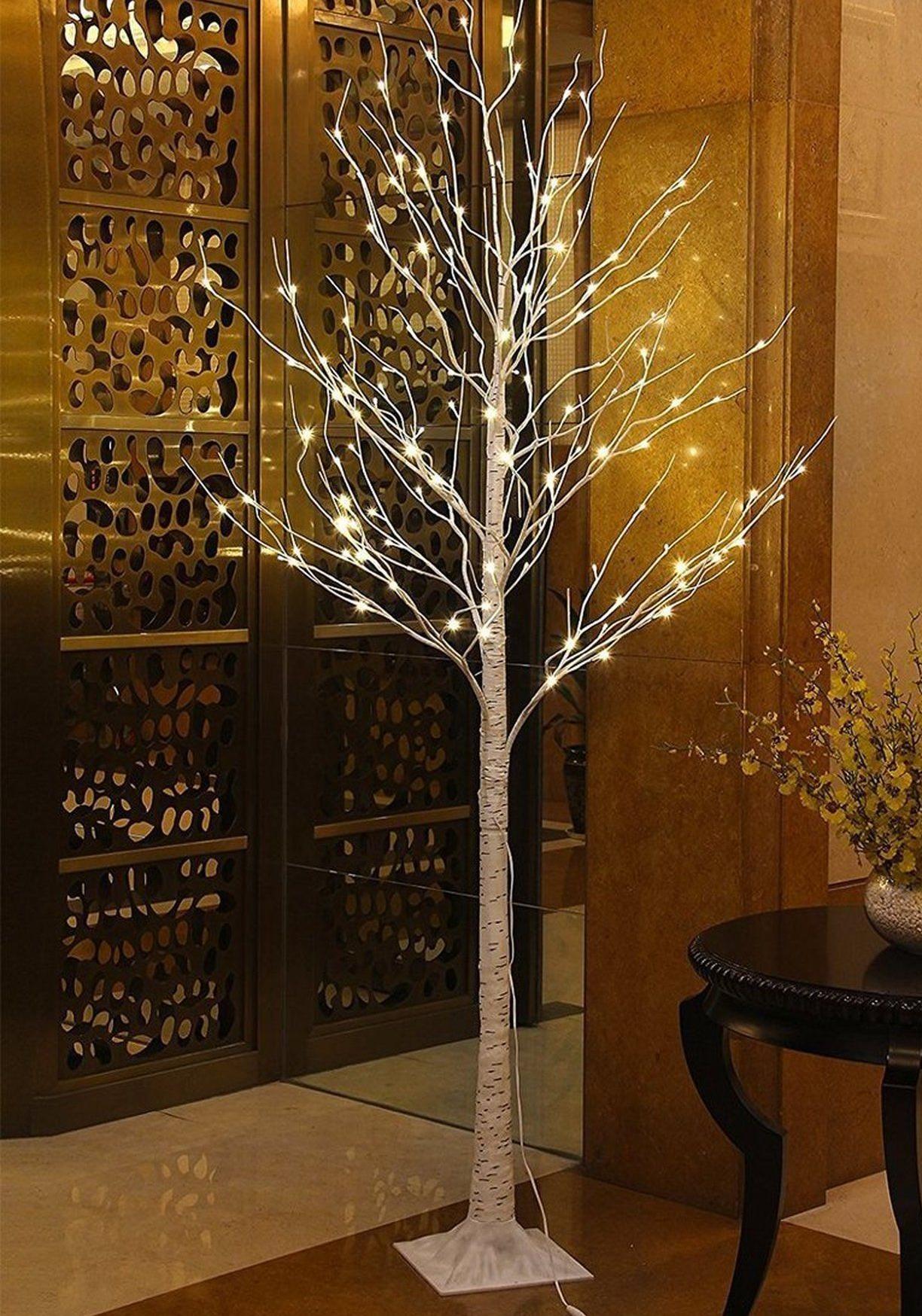 Pre-lit birch tree