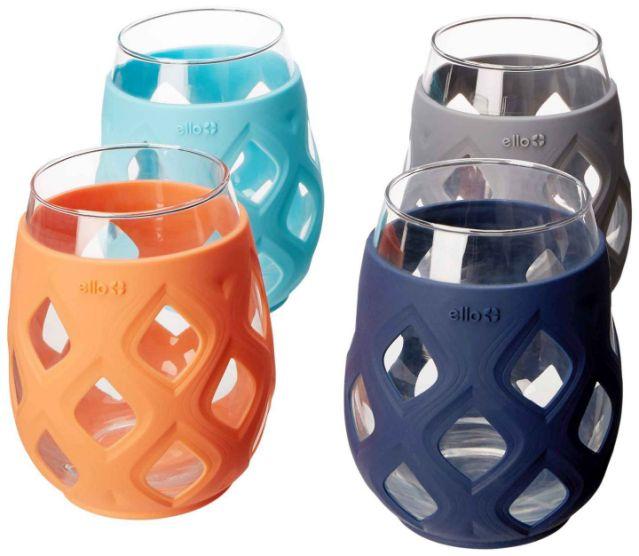 Ello sets of 4 silicone stemless wine glasses
